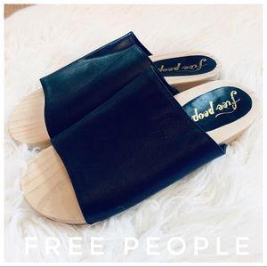 FREE PEOPLE leather slides